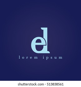 lowercase e and l vector logo. el initial design template for download