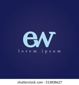 lowercase e and w vector logo. ew initial design template for download