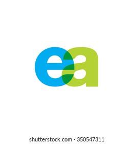 lowercase ea logo, blue green overlap transparent logo
