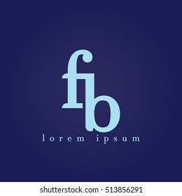 lowercase f and b vector logo. fb initial design template for download