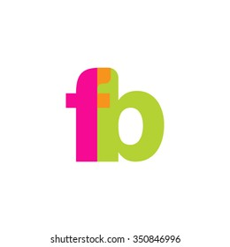 lowercase fb logo, pink green overlap transparent logo, modern lifestyle logo