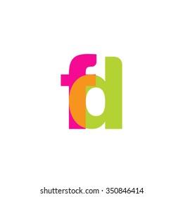 lowercase fd logo, pink green overlap transparent logo, modern lifestyle logo