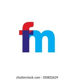 lowercase fm logo, red blue overlap transparent logo