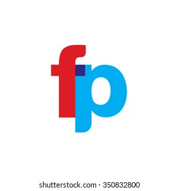 lowercase fp logo, red blue overlap transparent logo