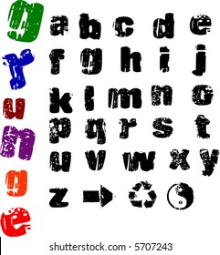 Lower-case grunge letters and symbols