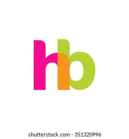 lowercase hb logo, pink green overlap transparent logo, modern lifestyle logo