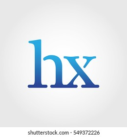Lowercase hx Logotype. Blue Letter Logo. Letter Abbreviations. Vector Template Element.
