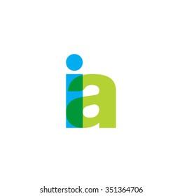 lowercase ia logo, blue green overlap transparent logo
