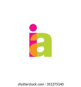 lowercase ia logo, pink green overlap transparent logo, modern lifestyle logo