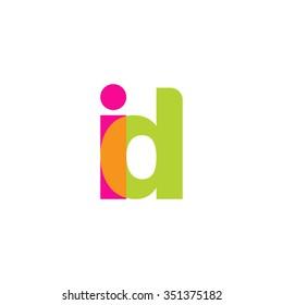 lowercase id logo, pink green overlap transparent logo, modern lifestyle logo