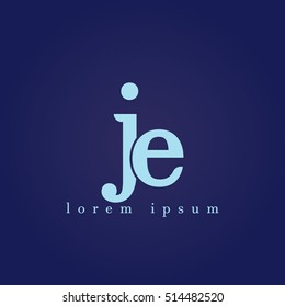 lowercase j and e vector logo. je initial design template for download