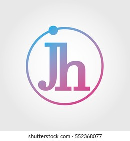 Lowercase jh Ring Circle Logotype. Pink and Blue Gradient Logo Letter. Sign Abbreviations. Vector Template Element