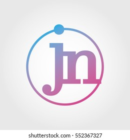 Lowercase jn Ring Circle Logotype. Pink and Blue Gradient Logo Letter. Sign Abbreviations. Vector Template Element