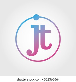 Lowercase jt Ring Circle Logotype. Pink and Blue Gradient Logo Letter. Sign Abbreviations. Vector Template Element