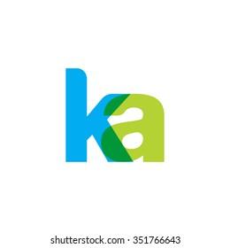 lowercase ka logo, blue green overlap transparent logo