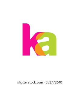 lowercase ka logo, pink green overlap transparent logo, modern lifestyle logo