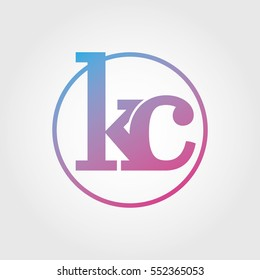 Lowercase kc Ring Circle Logotype. Pink and Blue Gradient Logo Letter. Sign Abbreviations. Vector Template Element