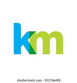 lowercase km logo, blue green overlap transparent logo