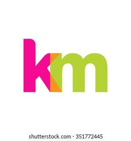 lowercase km logo, pink green overlap transparent logo, modern lifestyle logo