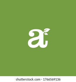 Lowercase Letter Alphabet Initial and Leaf Logo Design Vector