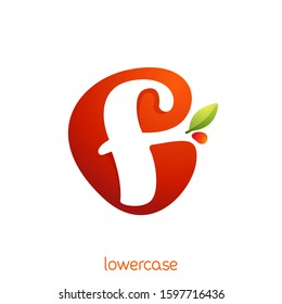 Lowercase letter f logo in fresh juice splash with green leaf. Vector elements can be used for natural company, ecology presentation, organic card or vegan cafe posters.