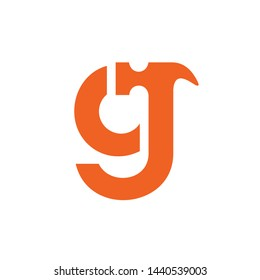 Lowercase letter g or cj hammer logo, home builder icon design, orange color - vector