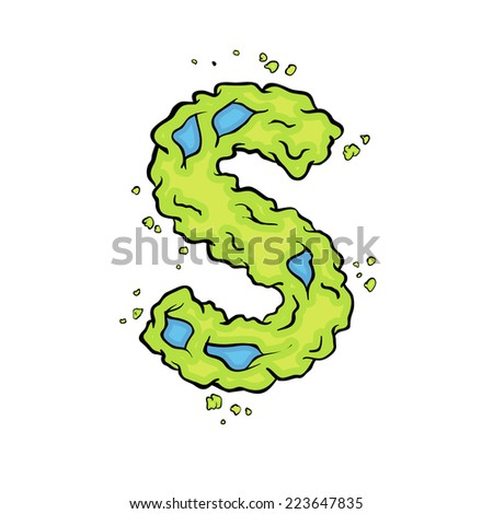 lowercase letter s bright green element stock vector royalty free