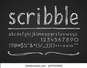 Lowercase letters numbers and symbols hand drawn on a chalkboard. Eps8. RGB. Global color. Each elements is grouped separately.