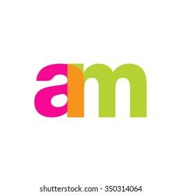 lowercase am logo, pink green overlap transparent logo, modern lifestyle logo