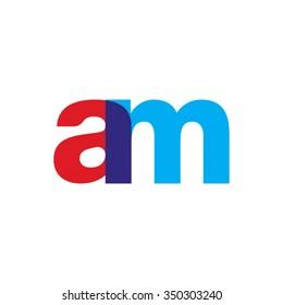 lowercase am logo, red blue overlap transparent logo