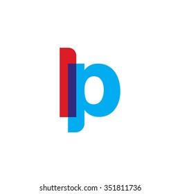lowercase lp logo, red blue overlap transparent logo