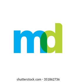 lowercase md logo, blue green overlap transparent logo