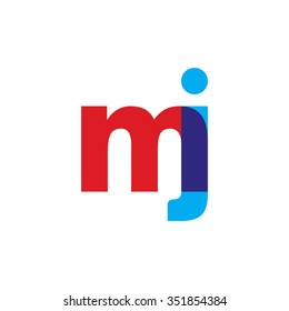 lowercase mj logo, red blue overlap transparent logo