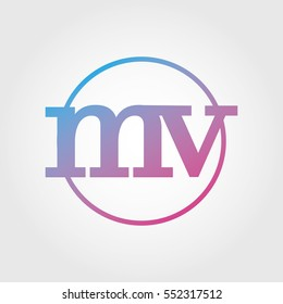 Lowercase mv Ring Circle Logotype. Pink and Blue Gradient Logo Letter. Sign Abbreviations. Vector Template Element
