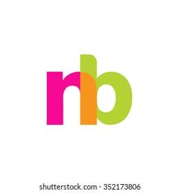 lowercase nb logo, pink green overlap transparent logo, modern lifestyle logo