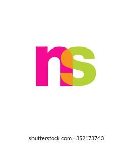 lowercase ns logo, pink green overlap transparent logo, modern lifestyle logo