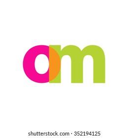 lowercase om logo, pink green overlap transparent logo, modern lifestyle logo
