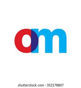 lowercase om logo, red blue overlap transparent logo