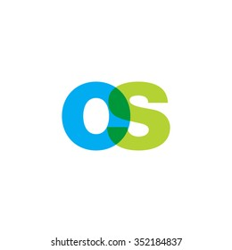 lowercase os logo, blue green overlap transparent logo