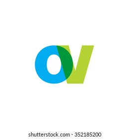 lowercase ov logo, blue green overlap transparent logo