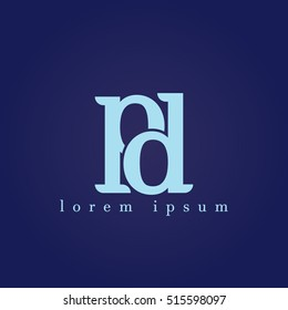 lowercase p and d vector logo. pd initial design template for download