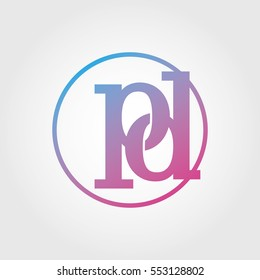 Lowercase pd Ring Circle Logotype. Pink and Blue Gradient Logo Letter. Sign Abbreviations. Vector Template Element