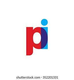 lowercase pi logo, red blue overlap transparent logo