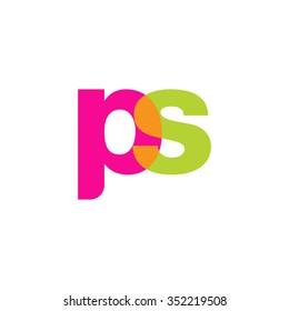 lowercase ps logo, pink green overlap transparent logo, modern lifestyle logo