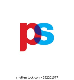 lowercase ps logo, red blue overlap transparent logo