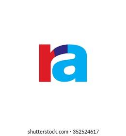 lowercase ra logo, red blue overlap transparent logo