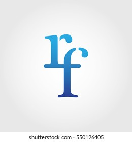 Lowercase rf Logotype. Blue Letter Logo. Letter Abbreviations. Vector Template Element.