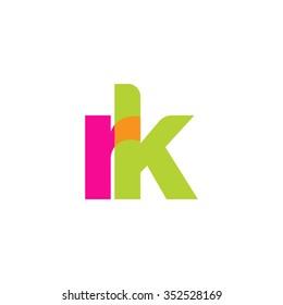 lowercase rk logo, pink green overlap transparent logo, modern lifestyle logo