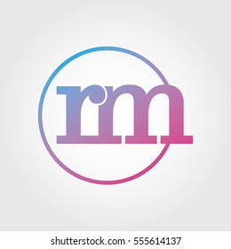 Lowercase rm Ring Circle Logotype. Pink and Blue Gradient Logo Letter. Sign Abbreviations. Vector Template Element