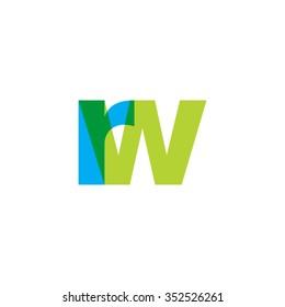lowercase rw logo, blue green overlap transparent logo